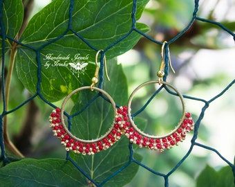 Red and gold woven earrings