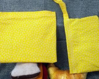 Sandwich Bag, Small Bugs on Yellow Design, Reusable