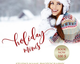 Holiday Minis, Marketing Board, Photoshop Template for Photographers, Winter Mini Session, Christmas mini sessions