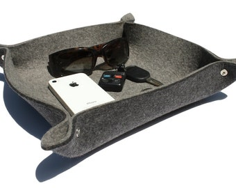 Men's Valet Husband Gift for Him Guy Gifts Valet Tray EDC Tray Leather Alternative Catchall Catch All Dish  Thick Wool Felt