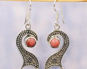 Pink Opal Earrings & Sterling Silver Dangle Earrings AE946 The Silver Plaza