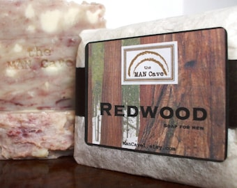 MENS SOAP - REDWOOD - with Organic Oils and Moisturizing Shea Butter by Man Cave Soapworks