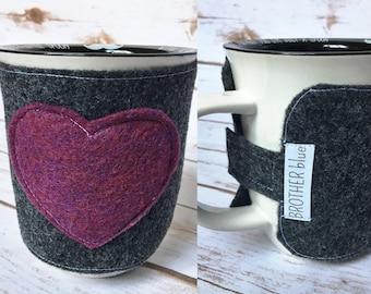 Felt Mug Cozy - Eco-Friendly Cozy - Travel Mug Cozy - Coffee Cup Sleeve - Felt Sleeve - Gray and Burgundy Coffee Sleeve - Teacher Gift