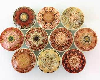 Set of 10 Rust and Ivory Mandala Cabinet Knobs