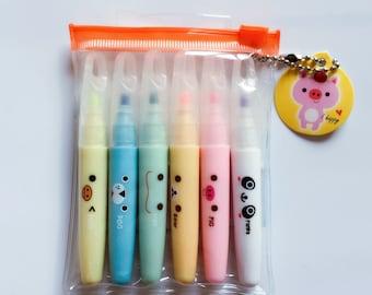 6 Pc Set Kawaii Cartoon Animals Pocket Size Highlighters ~ Cute Mini Highlighter Marker, Stationery, DIY, Planner, Drawing, School Supplies