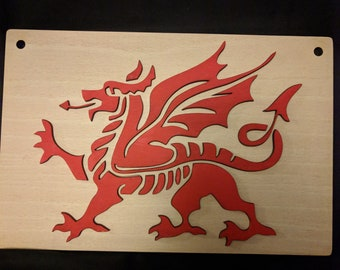 Red Dragon mounted on wood  wall Plaque #18