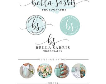 Branding Kit, Photography branding package, Mint branding, Photography logo, Watercolor logo design, Business logo design, premade logo