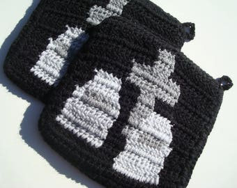 Graveyard Potholders Cemetery Potholders Burying Burial Ground Potholders Pot Holders Crochet Goth Halloween Birthday Hostess MADE TO ORDER
