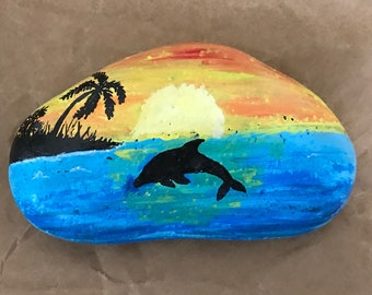 Sunset dolphin painted rock, paperweight