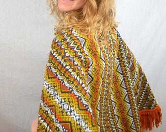 Vintage Boho Woven Fringe Poncho Sweater