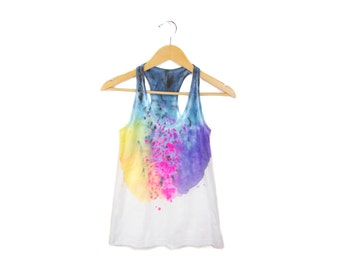 "Spectrum Rainbow Tank - Original ""Splash Dyed"" Scoop Neck Racerback Tank Top in White - Women's Size S-2XL"