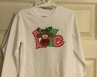 Embroidered, embellished Christmas tee