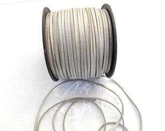 Suede or silver colored suede cord.