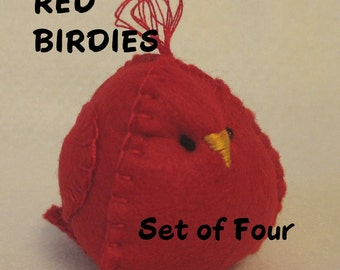 RED FELT,  BIRDS,  Chicks, Seasonal,   Holiday Decor,  Valentine,  Summer,  Winter,  Christmas,  Home Décor, Tree Ornament, Table Decor