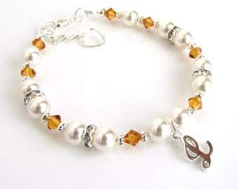 November Birthstone Bracelet, Personalized Girls Bracelet, Initial Bracelet for Girls, Toddler Bracelet Personalized, Childrens Jewelry