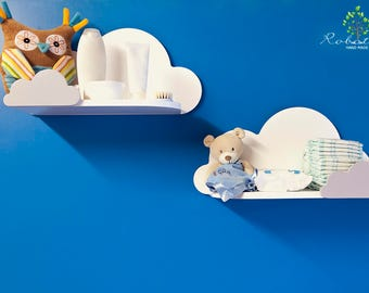Set of two Cloud Shelf with small on the front, Shelves For Baby Nursery