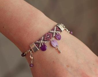 Friendship Bracelet, enameled beads, magic beads, purple, violet