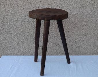 Vintage 3 ft Brown oak wood stool