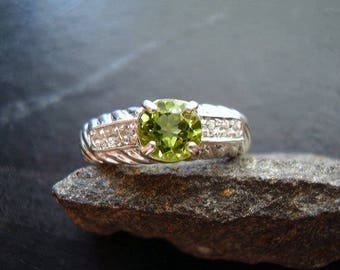 Genuine Peridot Faceted Round Cut 6mm & White Topaz 925 Sterling Silver Engagement Ring August Birthstone Gift For Her 16th Anniversary Ring