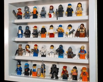Handcrafted hardwood display case for Lego minifigures  1ft x 1ft  Holds 32+ minifigs