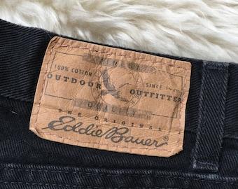 Vintage Eddie Bauer Black Jeans / High Waisted Mom Jeans / Boyfriend Jeans