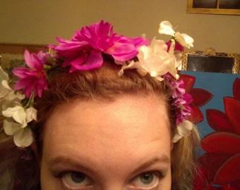 White Hydrangea and Fuchsia Flower Crown