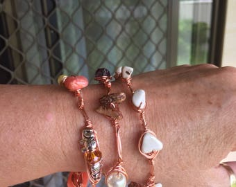 Wire wrapped bangle bracelet , in copper or silver, trending, made to order. Many other gems, amethyst, citrine, and otherboho embellishment