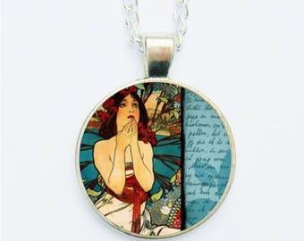 Alphonse Mucha Art Pendant Necklace Earrings Ring Pin Badge Art Nouveau Arts & Crafts Edwardian Lady Woman Artistic Feminine Jewelry