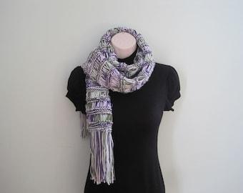 Knit scarf knit Extra Long Scarf, Cowl, Neck warmer - fresh lilac (SC8)