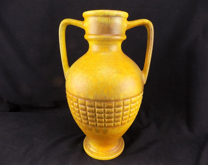 Haeger USA Pottery Two Handled Vase/Urn Yellow and Orange Matt finish