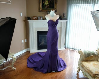Eggpant purple bridesmaid dress, purple wedding dress, mermaid bridesmaid dress