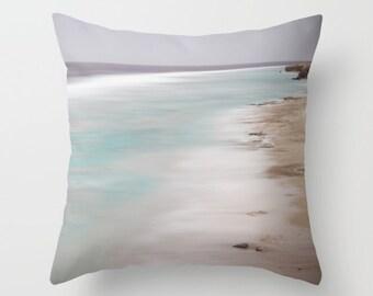 Blue pillow, blue cushion, ocean pillow, beach pillow, blue decor, beach decor, throw pillow, scatter cushion, cover, photography, unique