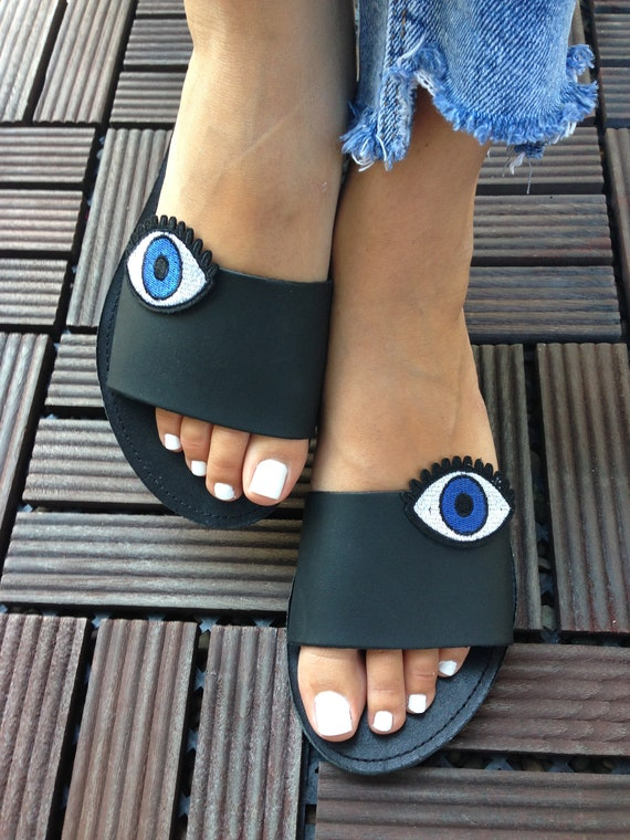 Sandals Decorated Greek Handcrafted Sandals Black Boho Embellished Leather Handmade slides THEMIS Sandals Sandals Sandals sandals q4StSZ