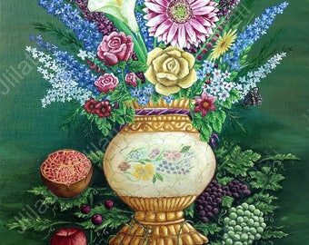 Original oil painting, Flowers, Fruits, Canadian artwork, North American art Original painting, oil color, realism