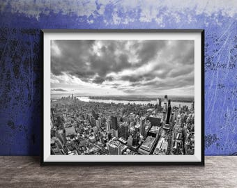 NYC Skyline - New York City Skyline - NYC Buildings - Photography Print - black and white art photo