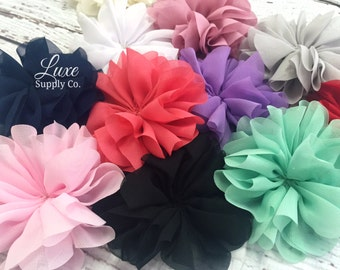 CLEARANCE Twirl Ballerina Flowers 3.2 inch - GRAB BAG: Random Assortment of Colors Scalloped Ballerina Fabric Flowers
