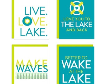 Lake Life, Lake House, Love Lake Mixed Greeting Card Set of 8