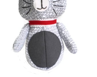 Kitten Softie Kittie Cat Art Doll Grey & White with Grey Accents and Red Collar OOAK