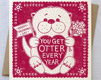 Funny Otter Valentines Card