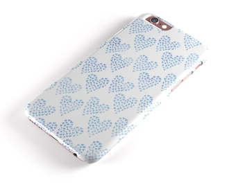 Blue Watercolor Hearts Pattern  - iNK-Fuzed Hard Case for the Apple iPhone - Samsung Galaxy & More