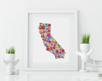 CALIFORNIA Floral Watercolor Print Digital Download
