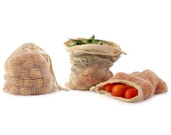Mesh Produce Bag' Reusable Cotton Bags' Mesh Bag' Organic Grocery Bag' Cotton Produce Bags' Reusable Mesh Produce Bag