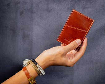 Thin cardholder wallet for men. The thinnest wallet for front pocket. Wallet for cards and cash. Italian leather wallet.