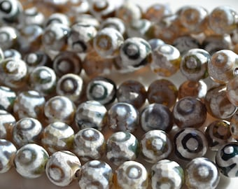 Brown and WHite Agate 10mm ROunds  FULL 15 INCH STRAND