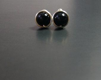 Black Onix Studs Earrings, Black Onix 6mm Post Studs Earrings, Wire Wrapped Studs
