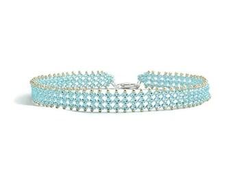 Aqua Bead Ankle Bracelet - Beadwoven Jewelry - Seed Bead Blue Anklet - Foot Jewelry Summer Anklet - Beach Jewelry - Handmade Anklet