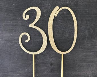 Number 30 cake toppers
