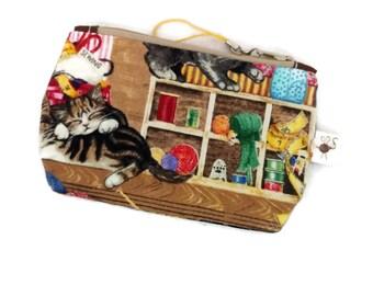 Mini Zipper Pouch Kittens in the Craft Room Flat Zipper Storage Pouch / Scissor Case / Coin Purse S292