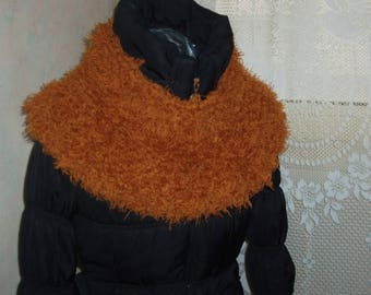Fawn furry wool snood neck
