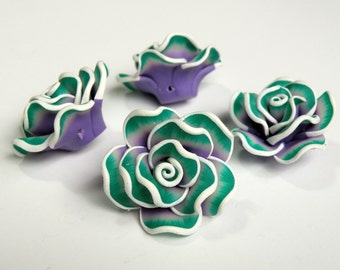 5 Purple Teal Green White Rose flower polymer clay beads 35mm PR002
